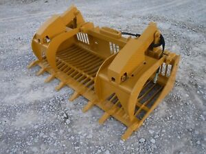 Cat Skid Steer Attachment 84 Rock Bucket Grapple With Teeth Ship