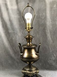 Antique Brass Urn Lamp Westwood Industries Ornate Base Handles