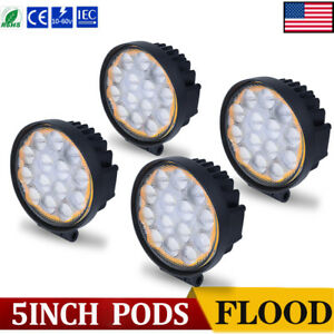 4x 5inch Amber White Led Work Lights Truck Bumper Backup Fog Pods Round 4x4 Boat