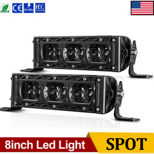 2x 6inch Led Light Bars Spot Flood Bumper Driving Offroad For Jeep Dodge 4x4wd 8