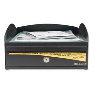Steelmaster Inbox Desk Tray Single Tier W locking Box Black mmf264657004