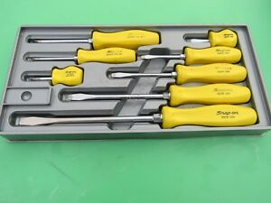 Rare Snap On Yellow Handle Screwdriver Set 8 Pc Sddx80y 80 W Tray Phillps Flat