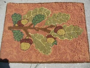 Wall Art Decor Hand Made Primitive Style Hooked Rug Acorn Leaves Fall Wool