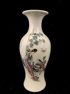 Chinese Antique Late Qing Dynasty Porcelain Famille Rose Vase