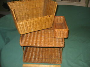 Wicker Desk Accessories Letter Tray Book Holder Pen pencil Organizer Set Lot