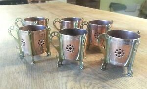 Set Of 6 Art Nouveau Copper Brass Cup Holders Secessionist Carl Deffner Wmf