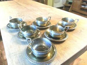 6 Rare Wmf Art Nouveau Silver Plate Brass Tea Cups And Saucers Secessionist