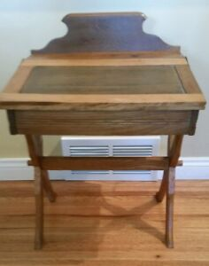 Antique Wood Childs Double Flip Top Desk