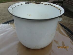 Vintage Farm Porcelain Bucket Rustic Kitchen Decor Ready To Display