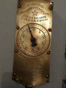 Vintage Landers Brass Improved Spring Balance Scale Circular Dial Weighs To 30