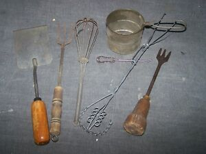 Lot Of 7 Primitive Kitchen Household Tools And Utensils