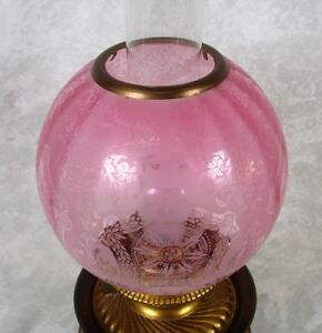 Antique Electrified Bradley Hubbard Banquet Lamp Cranberry Acid Etched Globe