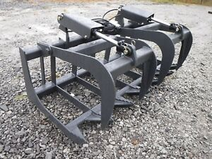 Skid Steer Tractor Attachment 60 Dual Cylinder Root Grapple Bucket 99 Ship