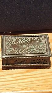 Antique Tiffany Studios Pine Needle Bronze Favrille Glass Trinket Coin Box