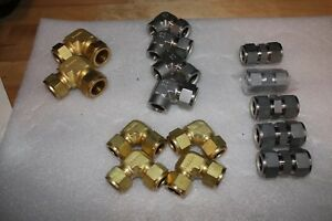 Lot Of Swagelok Stainless Steel Fittings brass Fittings