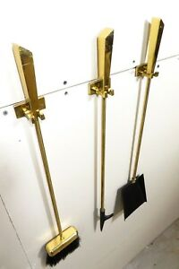 Rare Mid Century Modernist Solid Brass Wall Mount Fireplace Hanging Tool Set