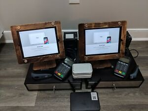 Shopkeep Pos System 2 Ipads Included Barcode Scanner W Walnut Wood Ipad Stand