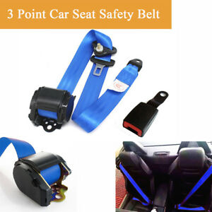 1pc 3 Point Car Seat Safety Belt Lap Diagonal Belt Adjustable Blue Nylon Strap