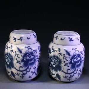 Chinese Pair Of Blue White Lidded Jars