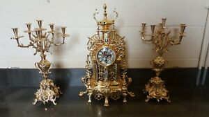 Gold Plated Brass Clock Set French Style Hand Made Louis Xv