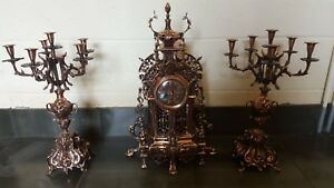 French Clock Set Louis Xv Style Hand Made