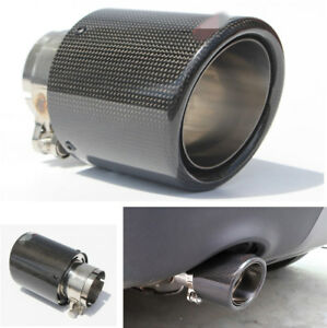 Inlet 3 Outlet 4 Car Exhaust Tips Muffler Real Carbon Fiber Stainless Steel