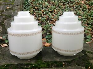 Pair Vintage 1930s 40s Art Deco Skyscraper White Glass Ceiling Lamp Shades Large
