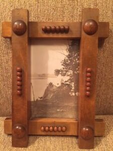 Arts Crafts Picture Frame Old Photo Woman By Water Nice Folk Art Handmade