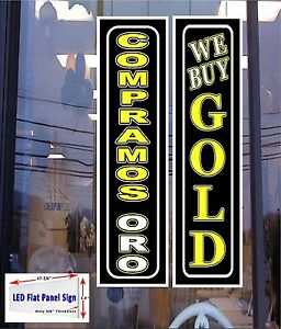 2 Led Signs We Buy Gold Compramos Oro English Spanish Window Signs 48x12