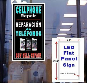 Spanish Cellphone Repair 48x24 Vertical Led Flat Panel Light Box Window Sign