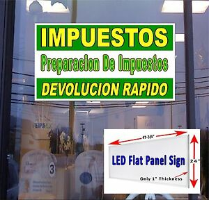 Led Sign Impuestos Income Tax Service Spanish 48 x24 Neon Banner Alternative