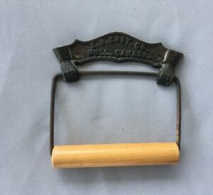 Antique Brass Toilet Tissue Paper Holder Roller Vtg E B Eddy Advertise 14 19j
