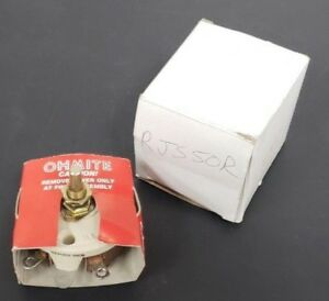 New Ohmite Rjs50r Rheostat Potentiometer 1 0 Max Amp 0 5 Ohm Series Res Re 19607
