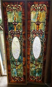 Awesome Pair Of Antique Victorian Stained Glass Sidelight Windows 15 1 2 By 60