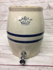 Primitive Antique 2 Gallon Kings Crown Stoneware Water Dispenser Crock
