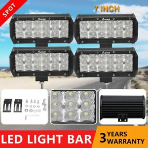4x 7 inch Cree Led Work Light Bar Spotlight Driving Offroad Tractor 4wd 12v24v