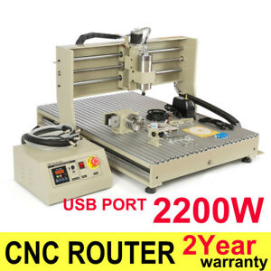 Usb 4axis 2200w Cnc 6090 Router Engraver Engraving Milling Drilling Machine Desk
