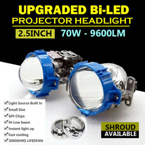 Pair 2 5 70w Bi Led Lens Headlight Projector Car Motorcycle H4 H7 Hid Xenon Kit