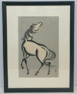 Antique Chinese Horse Painting Watercolor On Paper Signed Seal Marks