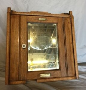 Antique Wood Medicine Cabinet Cupboard Beveled Mirror Shabby Vintage Chic 13 19c