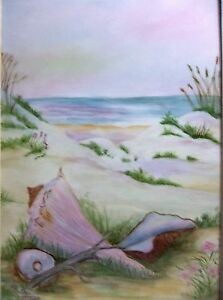 Vintage Porcelain Tile Painting Seascape Beach Scene Wood Frame