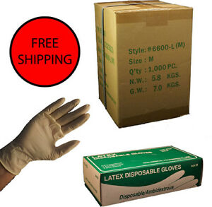 1000 cs Latex Disposable Gloves Powdered Med vinyl Nitrile Exam Free 123892