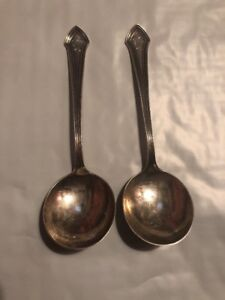 Sterling Silver Lot Of 2 Spoons With R Monogram Vefy Nice Vintage