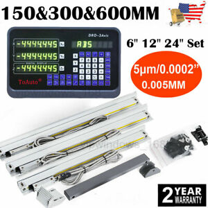Us 3 Axis Linear Glass Scales 6 12 24 Digital Readout Dro Kit Milling Lathe