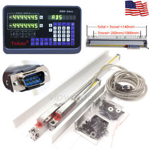 2 Axis Digital Readout 200 450mm Glass Linear Scale Dro Kit Fr Bridgeport Mill