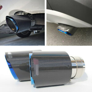 In 3 Out 4 5 Car Exhaust Tips Pipe Muffler Real Carbon Fiber Stainless Steel