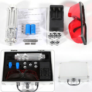 Adjustable Focus Military Blue Laser Light Beam W battery charger Goggles Box 5w