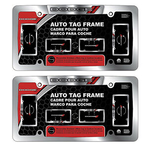 2 Dodge Metal Chrome Auto License Plate Frame Universal Fit