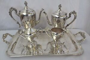 Antique Theodore Starr Silver On Copper Tea Coffee Service Set Art Deco 5 Pc
