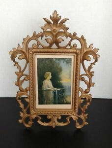 Vintage Ornate Acanthus Leaf Picture Frame With Stand Cast Iron Soft Gold